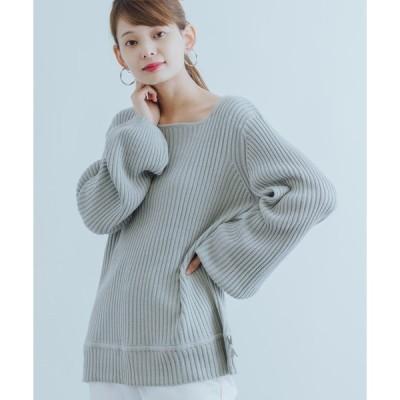 シャツ ブラウス 【wordtrobe】リブ編みボリューム袖プルオーバー