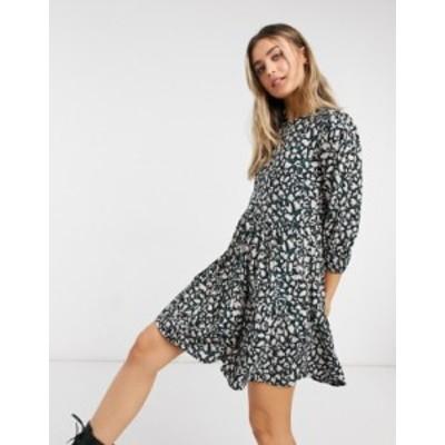 ニュールック レディース ワンピース トップス New Look smock mini dress in black leopard print Black pattern