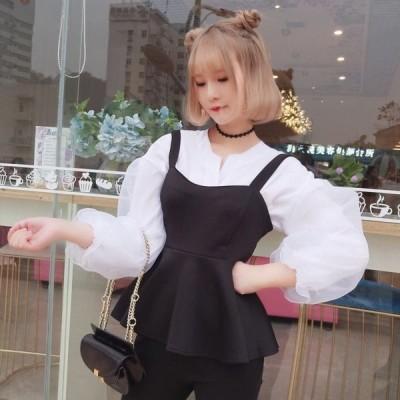 高校生 中学生 ファッション 10代 20代 長袖 韓国 おしゃれ ブラウス デザインキャミ パフスリーブシャツ  ベストワンピース 4925