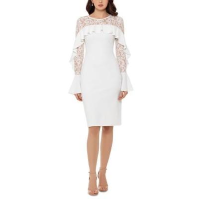 ベッツィアンドアダム レディース ワンピース トップス Ruffled Lace-Yoke Sheath Dress