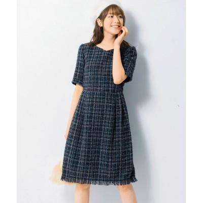 【大きいサイズ】 ハートカラーツイードチェックワンピース(MIIA) ワンピース, plus size dress