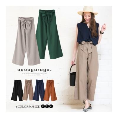 aquagarage 【M~XL】どんなトップスにも合わせやすい♪リボン付きワイドパンツ 春夏秋 ゴールド M レディース
