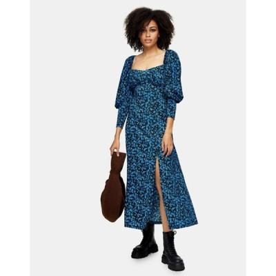 トップショップ レディース ワンピース トップス Topshop milkmaid midi dress in blue