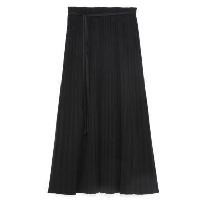 ミラオーウェン Mila Owen 3段プリーツストレートニットスカート (BLK)