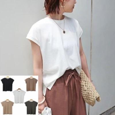 tシャツ Tシャツ ニットソーフレンチスリーブトップス Tシャツ