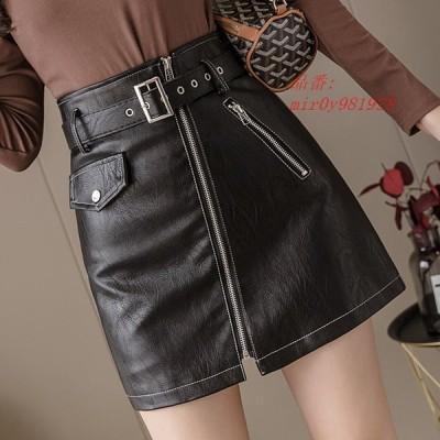 スカート 上品 40代 ミニスカート 着痩せ 秋冬 きれいめ 大きいサイズおしゃれ ハイウエスト タイトスカート レザースカート PUスカート 美脚 Aライン ボトムス