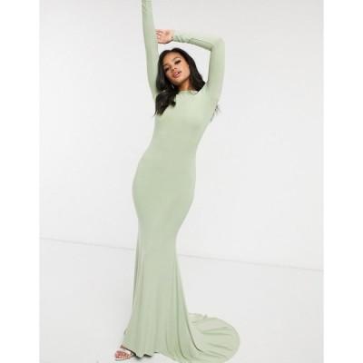 クラブエルロンドン レディース ワンピース トップス Club L London open back fishtail maxi dress in sage green Sage green