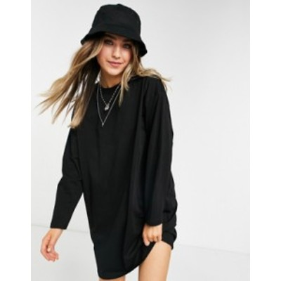 エイソス レディース ワンピース トップス ASOS DESIGN oversized long sleeve t-shirt dress in black Black