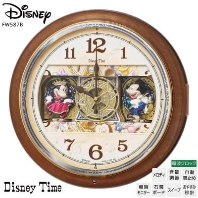 ディズニー Disney FW587B からくり 電波 掛 時計 ミッキー ミニー メロディ スワロフスキー Disney Time お取り寄せ