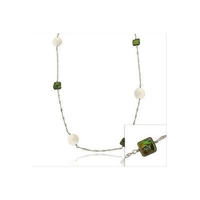 シルバースペック パール 925 シルバー グリーン & ホワイト Freshwater スクエア & ラウンド パール ツイスト Chain ネックレス