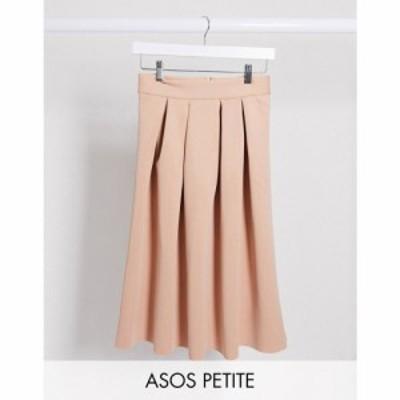 エイソス ASOS Petite レディース ひざ丈スカート スカート ASOS DESIGN Petite midi prom scuba skirt in tan タン