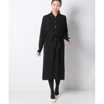 【アナイ】 ウールシャツ衿2WAYワンピース レディース ブラック 36 ANAYI