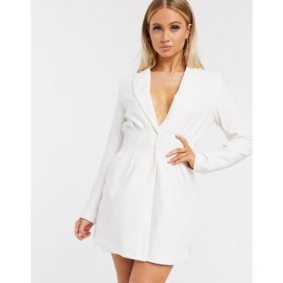フォース&レックレス 4th + Reckless レディース ワンピース ブレザードレス ワンピース・ドレス shirred waist blazer dress in white ホワイト