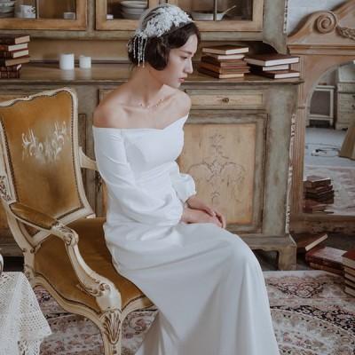 夏新品ウェディングドレス ウェディングドレス白 パーティードレス 長袖 オフショルダー 簡約 花嫁ロングドレス 結婚式 トレーンライン 二次会 お呼ばれhs5326