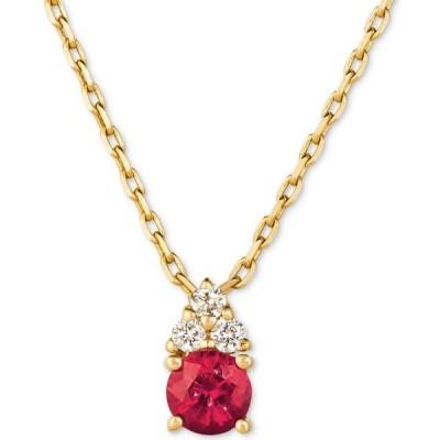 """メイシーズ Macy's ユニセックス ネックレス Certified Ruby (3/8 ct. t.w.) & Diamond (1/20 ct. t.w.) 16"""" Pendant Necklace in 14k Gold Ruby"""