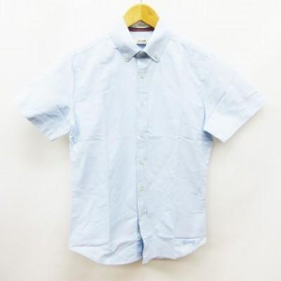 【中古】ヴィンテージ55 Vintage55 LUXURY BASIC シャツ 半袖 ボタンダウン 綿 コットン 100% XS 青 ブルー系 メンズ