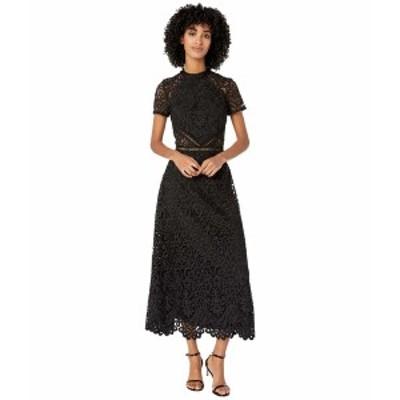 MLモニックルイラー レディース ワンピース トップス Mock Neck Short Sleeve Lace Dress Jet