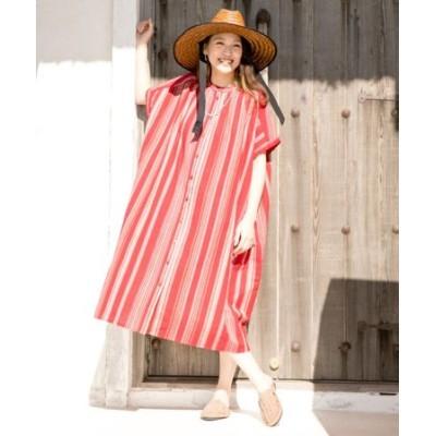 【チャイハネ】南インドの織り布 マルチストライプバンドカラーシャツワンピース