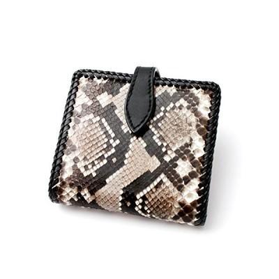 財布 二つ折り財布 メンズ 本革 レザー パイソン ヘビ革 レザーウォレット ショートウォレット 牛革