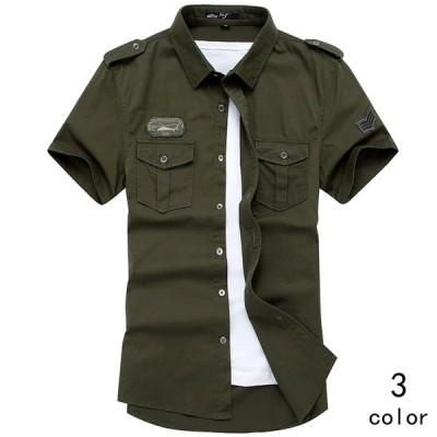 半そでシャツ メンズ 半袖 ミリタリー ワークシャツ シャツジャケット 折り襟 スウェット 3色 トップス カジュアル カコイイ 修身 夏新作 大きいサイズ