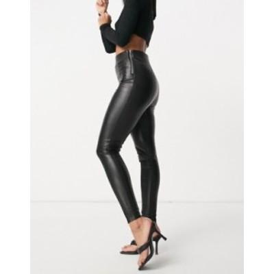 エイソス レディース カジュアルパンツ ボトムス ASOS DESIGN sculpting clean high waist leather look skinny pants Black