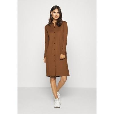マルコポーロ ワンピース レディース トップス DRESS LONG SLEEVE COLLAR BUTTON PLACKET - Jersey dress - chestnut brown