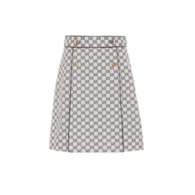 グッチ Gucci レディース ミニスカート スカート GG cotton-blend skirt Gardenia/Dark Blue