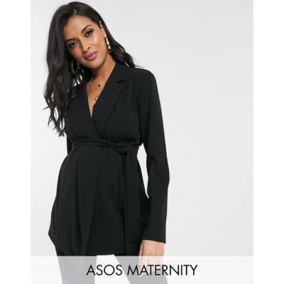 エイソス ASOS Maternity レディース スーツ・ジャケット マタニティウェア アウター ASOS DESIGN Maternity jersey wrap suit blazer ブラック