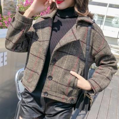 グレンチェック ジャケット アウター 春アウター バックボタン ショート丈 ライトジャケット 秋 小柄 小さいサイズ 小さい 服
