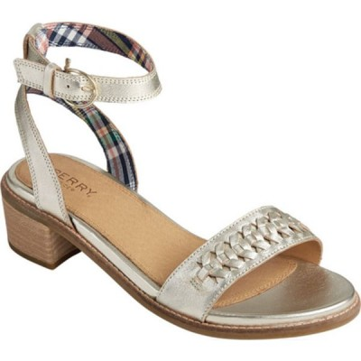 トップサイダー サンダル シューズ レディース Seaport City Woven Leather Ankle Strap Sandal (Women's) Platinum Leather