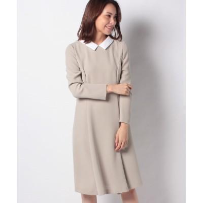 【ミス ジェイ】 白襟×トリアセダブルクロス ドレス レディース ベージュ 40 MISS J