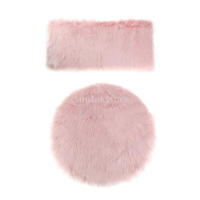 暖かい エリアラグ ふわふわ 床用 カーペット マット チェア シートクッション 豪華 クリスマス ギフト 2枚 多セット - セット1