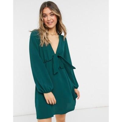エイソス ASOS DESIGN レディース ワンピース ミニ丈 ワンピース・ドレス Tie Front Mini Tea Dress With Long Sleeves In Forest Green フォレストグリーン
