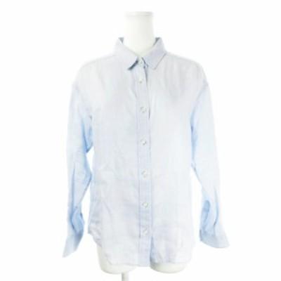 【中古】シップス SHIPS シャツ リネン 長袖 ドロップショルダー 長袖 36 水色 ライトブルー /CK1 ☆ レディース