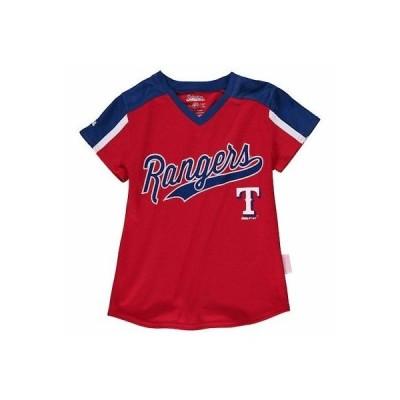 野球 MLB スティッチ Stitches Texas Rangers Girls Youth Red/Royal V-Neck Jersey T-Shirt