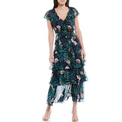 イグナイトイブニングス レディース ワンピース トップス Tropical Floral Print Tiered Chiffon V-Neck Cap Sleeve Maxi Dress Navy Multi