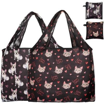 エコバッグ ファッション男性トートバッグ 女性通勤ショルダーバッグ シンプルな折りたたみ 収納環境保護ショッピングバッグ 大容量2個セット漫画黒猫犬