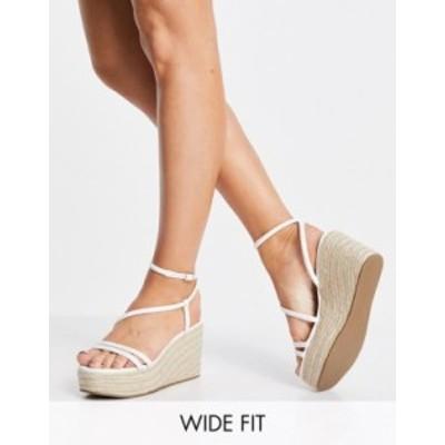 エイソス レディース サンダル シューズ ASOS DESIGN Wide Fit Tulip tubular flatform sandals in white White