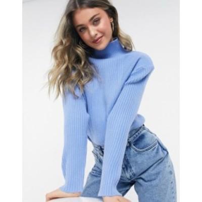 エイソス レディース ニット・セーター アウター ASOS DESIGN high neck sweater in multi rib with shoulder detail in blue Cornflower