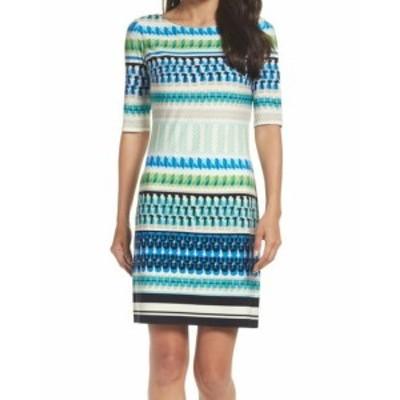 Eliza J エリザジェイ ファッション ドレス Eliza J NEW White Womens Size 6 PRINTED Elbow Sleeve Sheath Dress