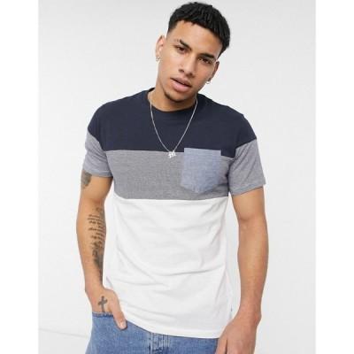 ジャック アンド ジョーンズ Jack & Jones メンズ Tシャツ ポケット トップス contrast stripe t-shirt with pocket in navy ネイビー