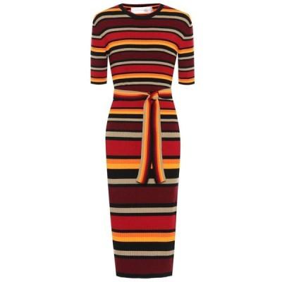 ヴィクトリア ベッカム Victoria Victoria Beckham レディース ワンピース ミドル丈 ワンピース・ドレス Striped wool-blend midi dress Cherry Red/Multi