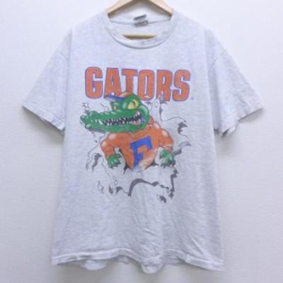 古着 半袖 ビンテージ Tシャツ 90年代 90s フロリダゲーターズ 両面プリント 大きいサイズ コットン クルーネック USA製 グレー 霜降り s