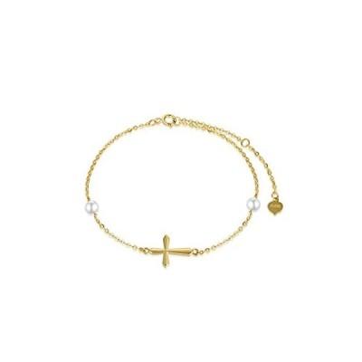 14Kゴールドクロスブレスレット レディース 本物のパール宗教ブレスレット 彼女への堅信礼ギフト 6.3インチ+1インチ+1インチ