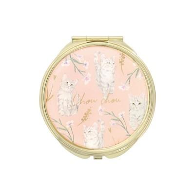 手鏡 ミラー 拡大鏡 キラキラ プレゼント コンパクトミラー 猫パターン ネコ 動物 GMR0145-PK ピンク 雑貨 おしゃれ かわいい