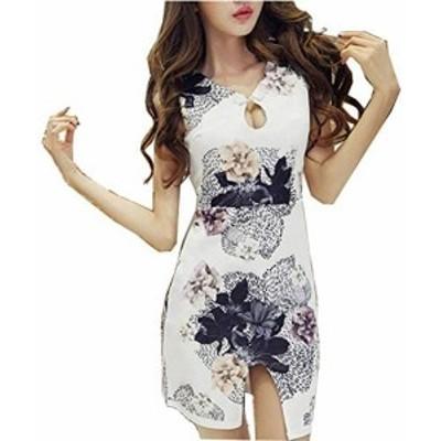 [ネモフィオール] ミニ ワンピース きゃば ドレス チャイナドレス セクシー 花柄 白 キャバ formal dress ladies gown dresses for women
