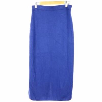 【中古】ユナイテッドアローズ UNITED ARROWS スカート ニット タイト ロング ミモレ シルク混 38 ブルー レディース