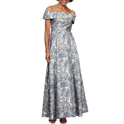 アレックスイブニングス レディース ワンピース トップス Jacquard Cap Sleeve Off-the-Shoulder Floral Pocket Ball Gown Silver Multi