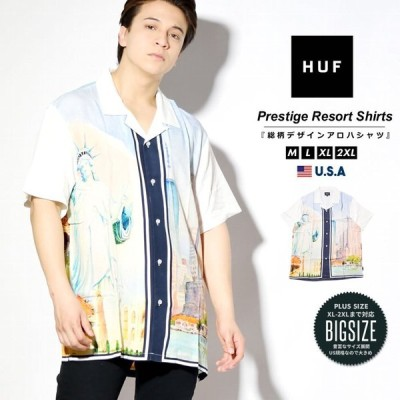 HUF ハフ 開襟シャツ メンズカジュアル 半袖 総柄 BU00095 海外モデル 大きいサイズ対応