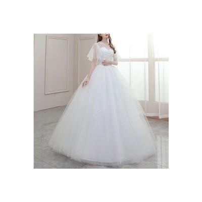 ウェディングドレス パーティードレス 花嫁ドレス マキシ丈 ベアトップ  レース 花嫁 ウェディング プリンセスドレス 白ドレス ロングドレス 披露宴 編み上げ